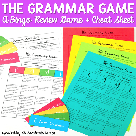 Fun bingo games for your middle school English Language Arts classroom!
