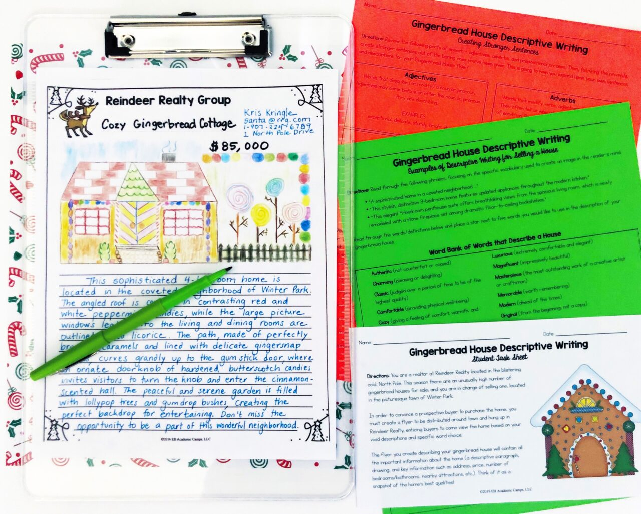 gingerbread house holiday writing activity for middle school