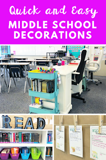 Quick and Easy Middle School Classroom Decorations - bulletin board ideas, figurative language posters, middle school classroom ideas, desk configuration, and so much more!