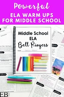These English Language Arts (ELA) warm up / bell ringers / do now activities are the PERFECT way to start your day or class period with your middle school students. Includes grammar, vocabulary, writing, informational text, literary analysis, creative writing, and SO much more!