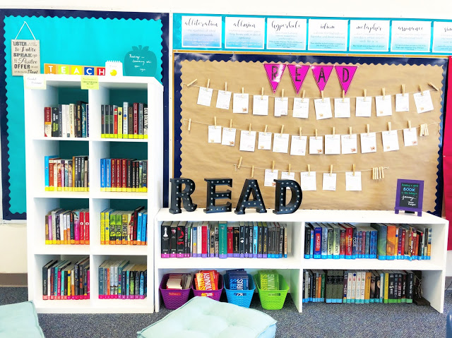 Middle School Classroom Library with bight, colorful books.
