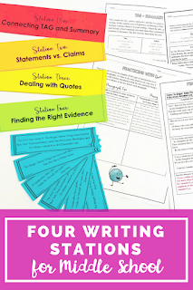 ELA Writing Stations to review literary analysis and argumentative writing in your middle school classroom. Includes introduction practice, claims and statements practice, introducing quotes in body paragraphs, and finding the right evidence. Engaging stations to use at the beginning of the year or before starting a literary analysis / argumentative writing unit!