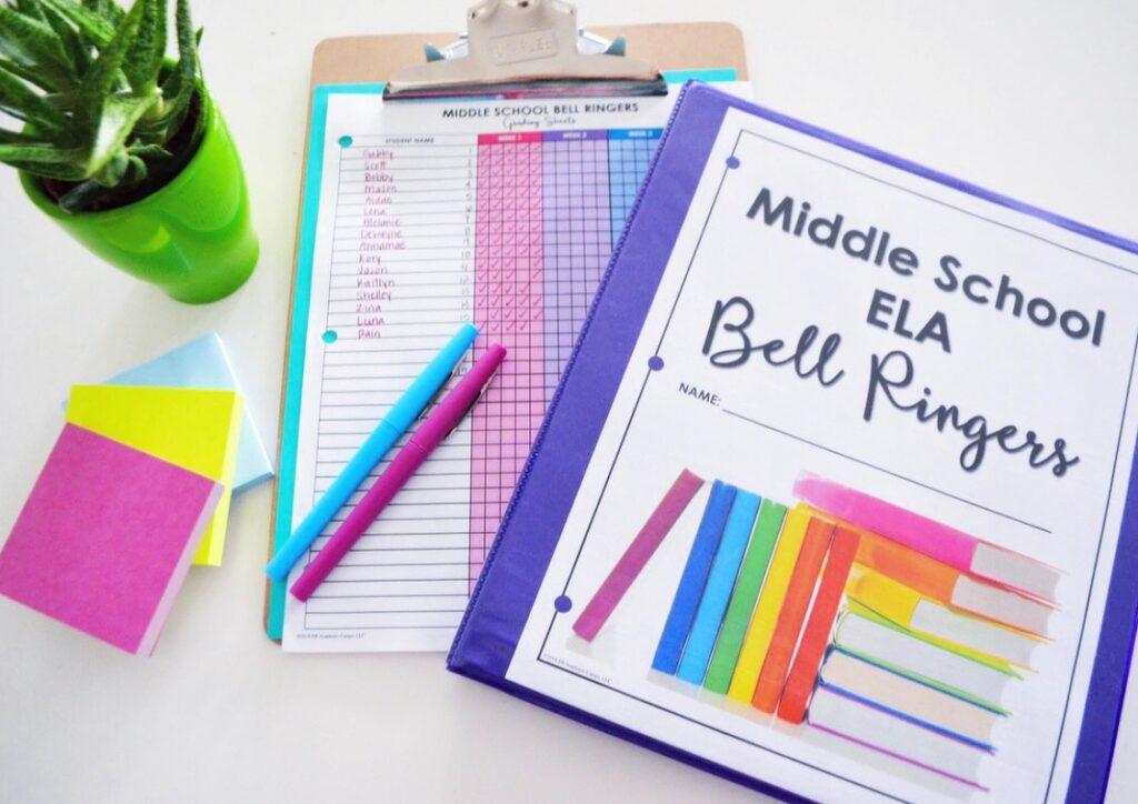 Bell ringer binder work with a grading checklist
