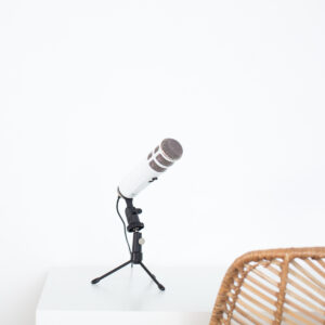 podcast microphone on desk
