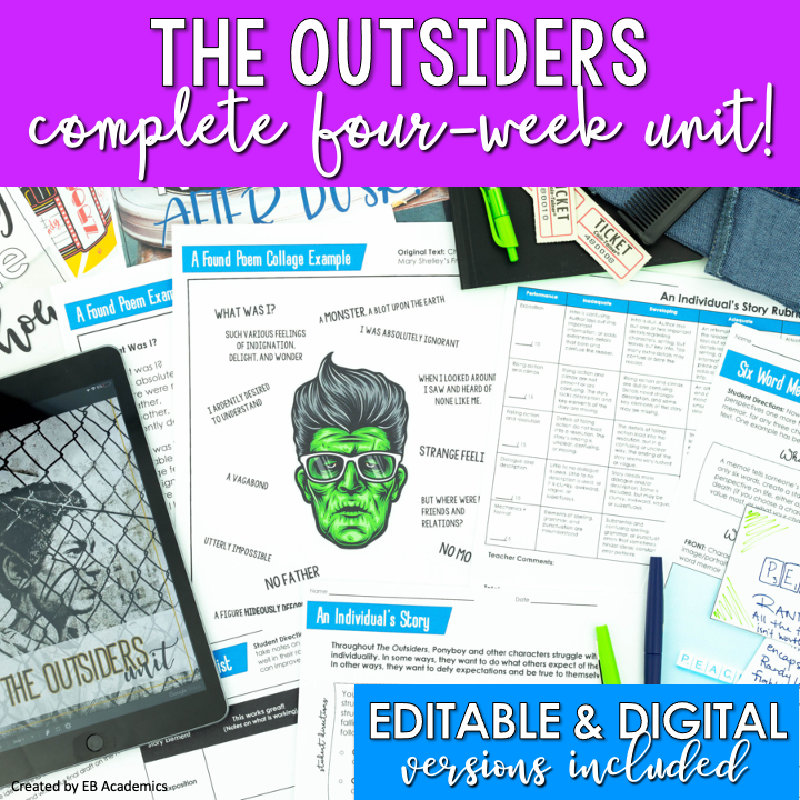 This image shows the cover for The Outsiders complete novel study unit.