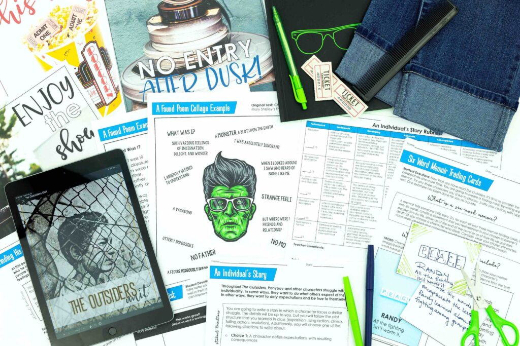 This image shows the various activities included in this The Outsiders novel study.