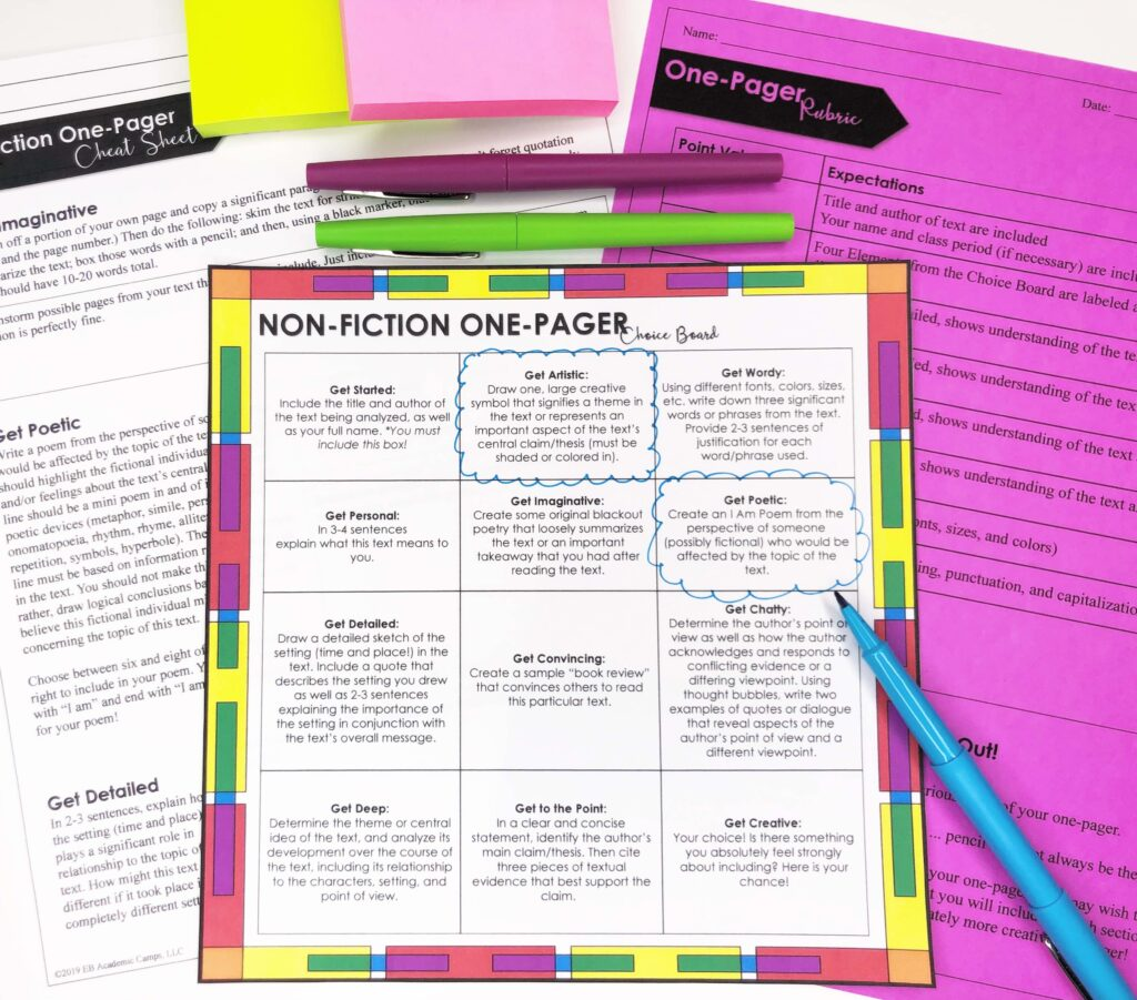Non fiction one pager choice board is a great tool for students who read ahead.