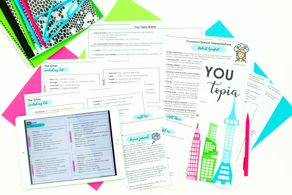 Try this Youtopica activity when teaching The Giver novel unit.