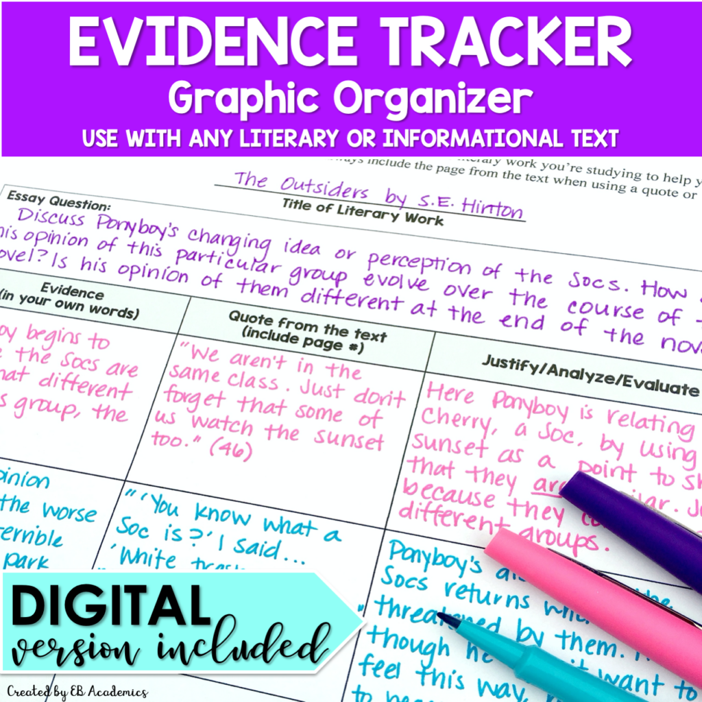 Evidence trackers are great for argumentative essays or literary analysis essays.