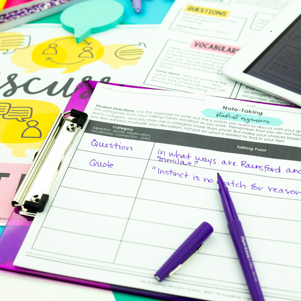 Keep students organized when completing critical thinking discussion activities.